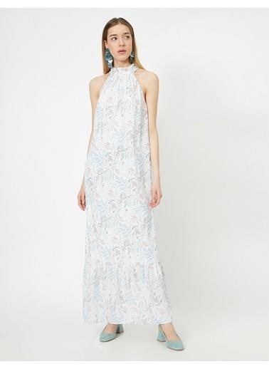 Koton Halter Yaka Çiçek Desenli Uzun Elbise Mavi